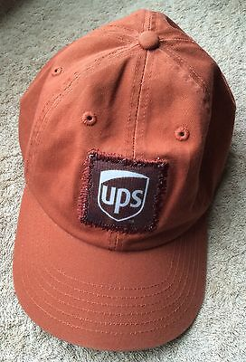 UPS Hat Orange Baseball Cap Patch United Parcel Service Adjustable Band One Size