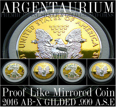 Coin 1 oz silver 2016 American Silver Eagle AB-X 24kt Gold GILDED PROOF LIKE