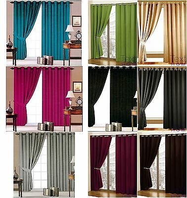 Luxury Faux Silk Eyelet Fully Lined Pair Of Curtains With Tie Backs Room Home