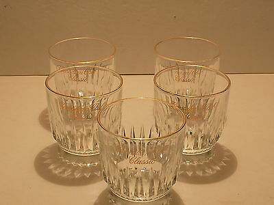 Vintage Canadian Club Classic Gold Rimmed Low Ball Glasses Set Of 5