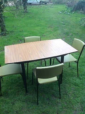 Vintage Formica Table And Four Vinyl Chairs Retro 1950s Pel