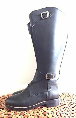 Polo Player Riding Tall Boots Mens 8 or 10 Front Zipper + Knee Guards + Gloves