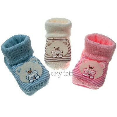 Baby Bootees Bear Face Pattern Knitted Bootees  Pink Blue Cream Size Newborn