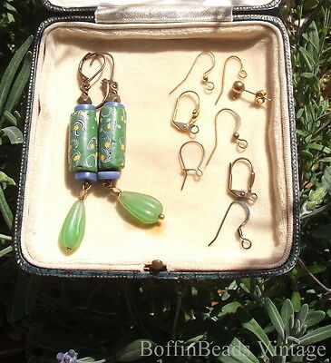 Quirky antique green EARRINGS Venetian beads Africa Trade collectable beads GP