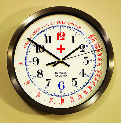 Medical Physicians Wall Clock, Alloy Surround Silent Sweep Battery Movement
