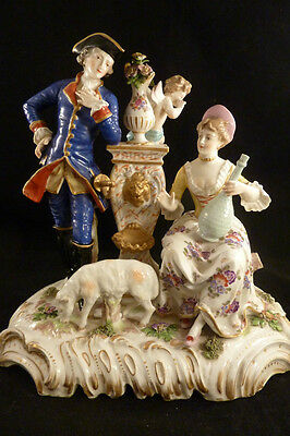 BEAUTIFUL LARGE  FIGURAL GROUP  Porcelain Meissen