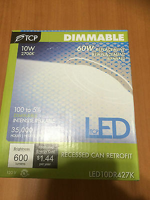 """LED10DR427K 4"""" 2700K LED Recessed Can Light Retrofit Kit Dimmable 10W Fixture"""