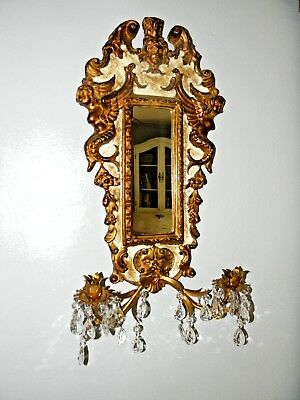 Baroque Wood Carved Italian Gold Gilt Mirror & Wheat Sconce w Dangling Crystals