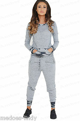 Womens Ladies Grey Camouflage Two Piece Tracksuit Joggers Jumper Lounge Top S-L