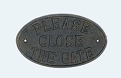 Rustic Cast Iron Door Fence Sign PLEASE CLOSE THE GATE, New, Free Shipping