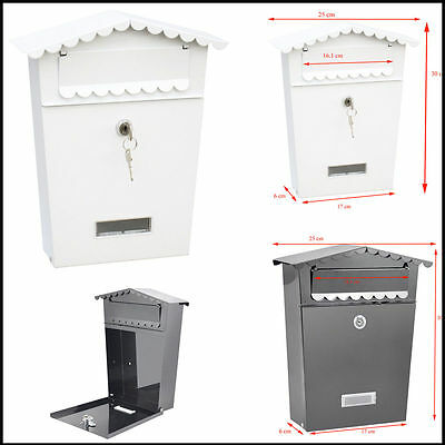 Wall Mount Post Box Black White Waterproof Construction Letterbox Door Gate DIY