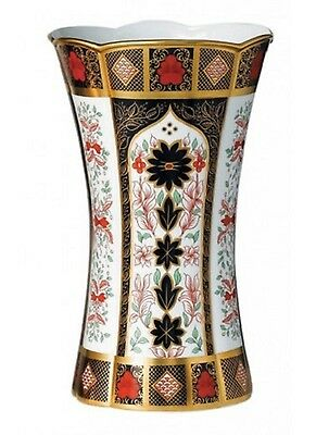 New Royal Crown Derby 2nd Quality Old Imari Solid Gold Band Column Vase
