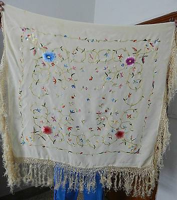 Antique Beautiful Chinese Hand Embroidered Silk Piano Shawl Ps17