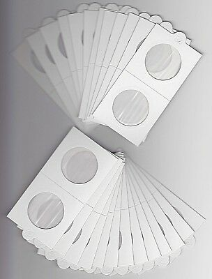 """LIGHTHOUSE 32.5mm SELF ADHESIVE 2""""x 2"""" COIN HOLDERS x 25 - SUIT PENNY/FLORIN"""