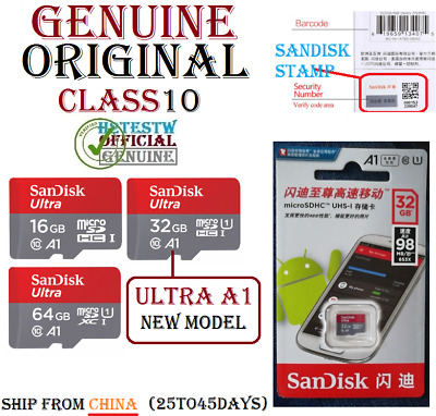 NEW A1 GENUINE SanDisk ULTRA 16GB 32GB 64GB Micro sd card Memory MicroSd Carte