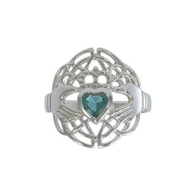 Celtic Knotwork Claddagh Ring Irish Sterling Silver Choice of Gem by Peter Stone