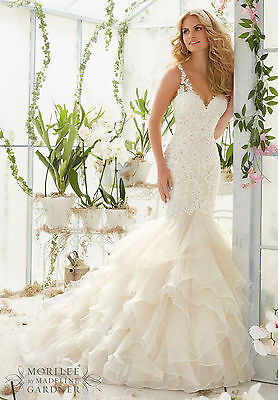 Brand New Mori Lee Flounced Mermaid Bridal Gown Style 2819 free shipping
