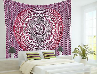 INDIAN MANDALA OMBRE Bohemian Hipppie TApestry 100% Cotton TWIN SIZE Au Shipping