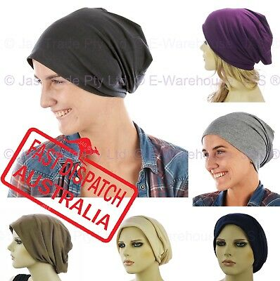 Ladies Men Slip On Slouch Jersey Cotton Hat Cap Hair Loss Beanie Chemo Headcover