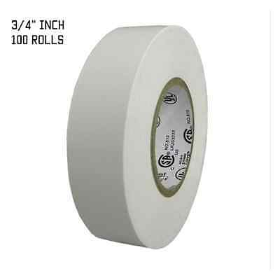 """TapesSupply 100 ROLLS WHITE ELECTRICAL TAPE 3/4"""" X 66 FT"""