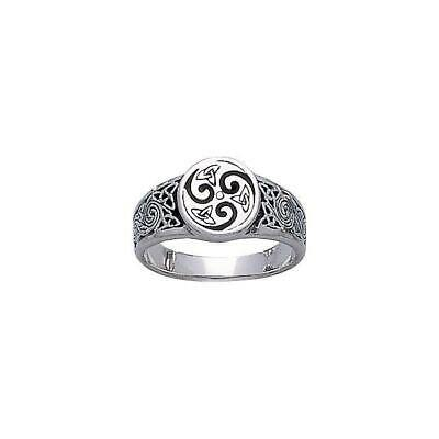 Celtic Knotwork Triskele .925 Sterling Silver Ring by Peter Stone