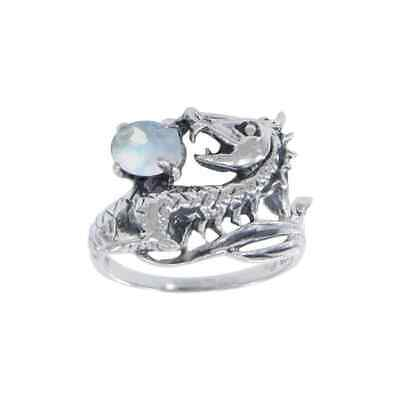 Dragon Scroll .925 Sterling Silver Ring by Peter Stone Jewelry