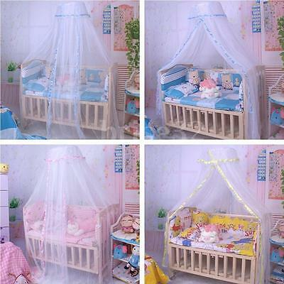 Round Dome Baby Infant Mosquito Net Toddler Bed Crib Canopy Netting White Babe