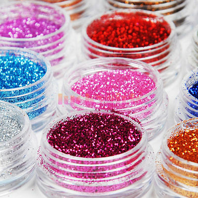 12pcs Colors Glitter Dust Powder Acrylic Nail Art UV DIY Makeup Decoration Set