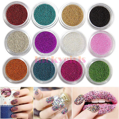 12 Colors Caviar Mini Ball Micro Beads Nail Art Acrylic UV 3D Tip Decoration Set