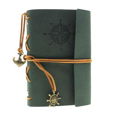 Green Vintage Classic Retro Leather Journal Travel Notepad Notebook Blank Diary