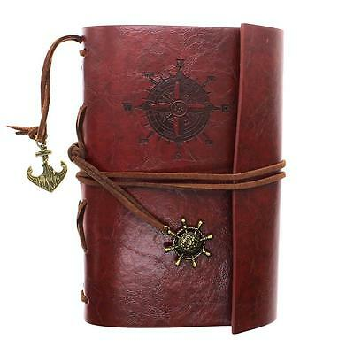 Red Brown Vintage Traveler Sailing Bound Diary Journal Notebook PU Leather Gift
