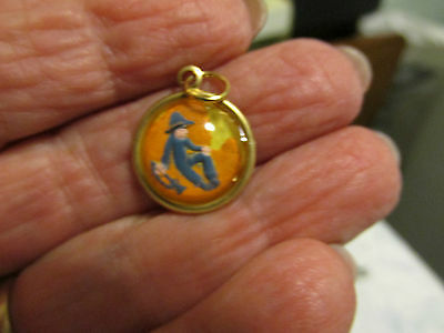 Reverse carved and  painted Little Boy Blue  vintage intaglio cab pendant