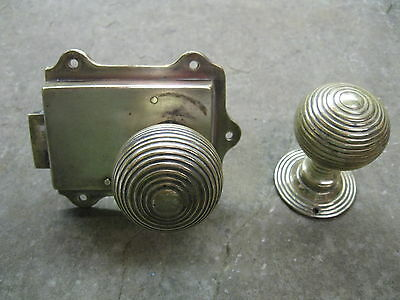 Pair of Original Reclaimed Brass Reeded Knobs and Solid Brass Latch 0175