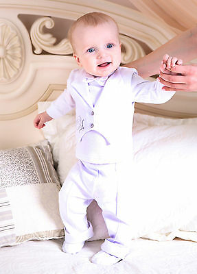 Christening Outfit Baby Boy Baptism Suit 3PC White + Embroidered Angel Handmade