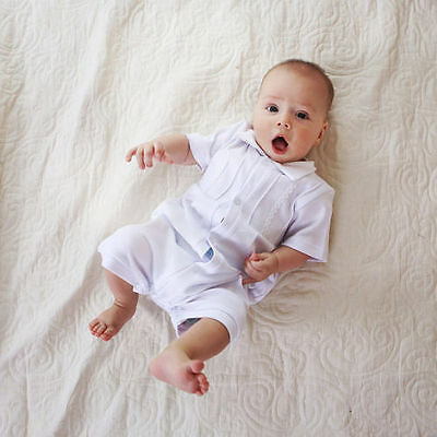 Baby Boy Christening Outfit White Bodysuit Baby Boy Baptism Suit Clothes Infant