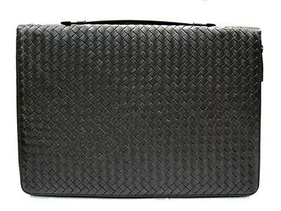 Leather folder A4 document file black folder A4 in braided leather zipped