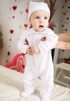 Baby Boy Christening Outfit Newborn Baptism Romper White Toddler Infant Suit+Hat