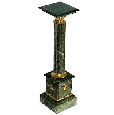 Marble Stand From Green Marble Copper Napoleon Style Pillar French Empire Column
