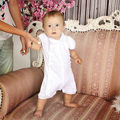 Baby Boy Baptism Suit Christening Romper White Outfit Handmade Unisex Clothes