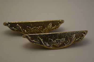 Pair of Vintage Solid Brass Floral Decorative Handles British Arts & Crafts