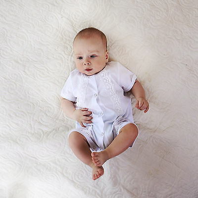 White Christening Outfit Baby Boy Romper Baptism Suit Handmade Cotton Clothes