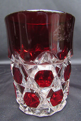 1890's Ruby Stained EAPG Pattern Glass Red Block Tumbler