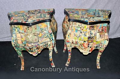 Pair Funky Comic Print Chests of Drawers Deco Commode Bombe • £950.00