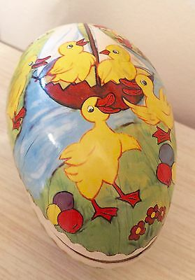 """6"""" German GDR Paper Mache Easter Egg Candy Container Ducks Chicks Sailboat"""