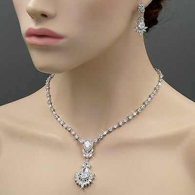 White Gold Plated Cubic Zirconia Necklace Earrings Bridal Wedding Jewelry Set 79