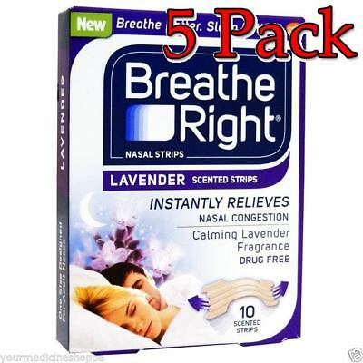 Breathe Right Scented Nasal Strips, Lavender, 10ct, 5 Pack 757145102730A389