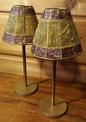 Vintage Solid Brass And Bead Ornate Lampshade Candleholders Mood Lighting