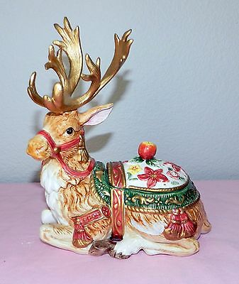"Retired Fitz &  Floyd 1996 Holiday Reindeer Lidded Candy Trinket Dish 9.25"" Tall"