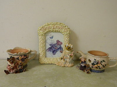 Boyds Bear Lot True Love Frame & 2 Candle Holders For Tea Lovers