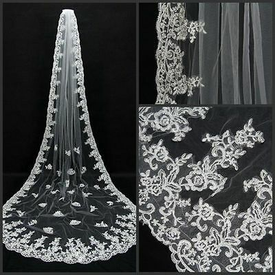 New White Ivory Cathedral Length Wedding Bridal Veil Lace Appliques Edge Comb